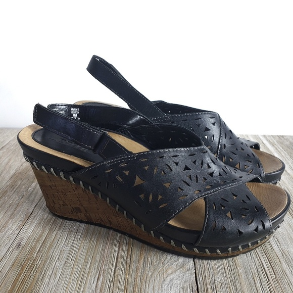 b1ea3995d Earth Shoes | Aries Sandal Black Leather Wedge Heel Size 8 | Poshmark